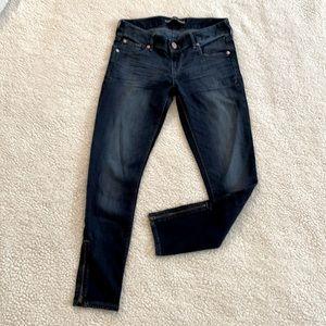 Express Dark Size 2R Distressed Ankle Zip Jean